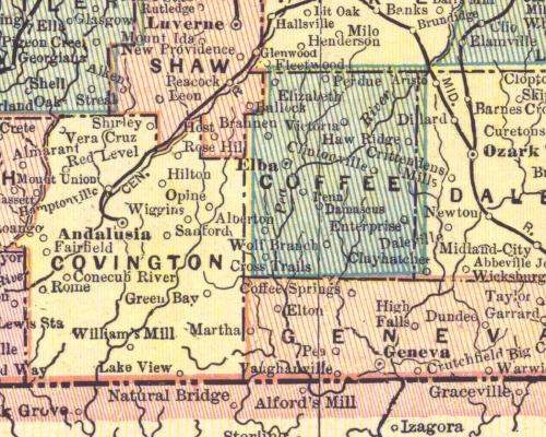 Coffee County Alabama Census Map