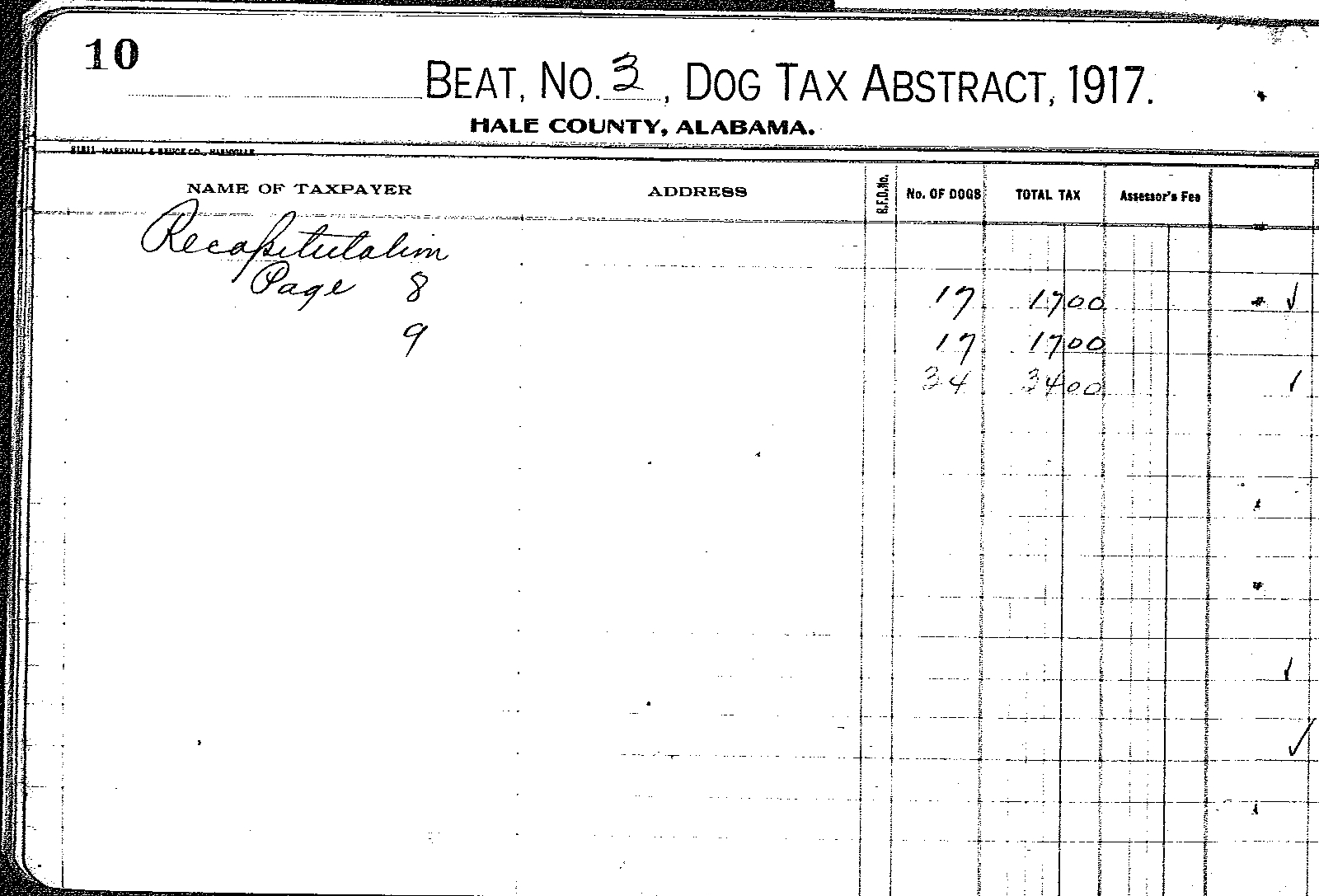 Tracking Your Roots: 1917 Hale County, AL Dog Tax List