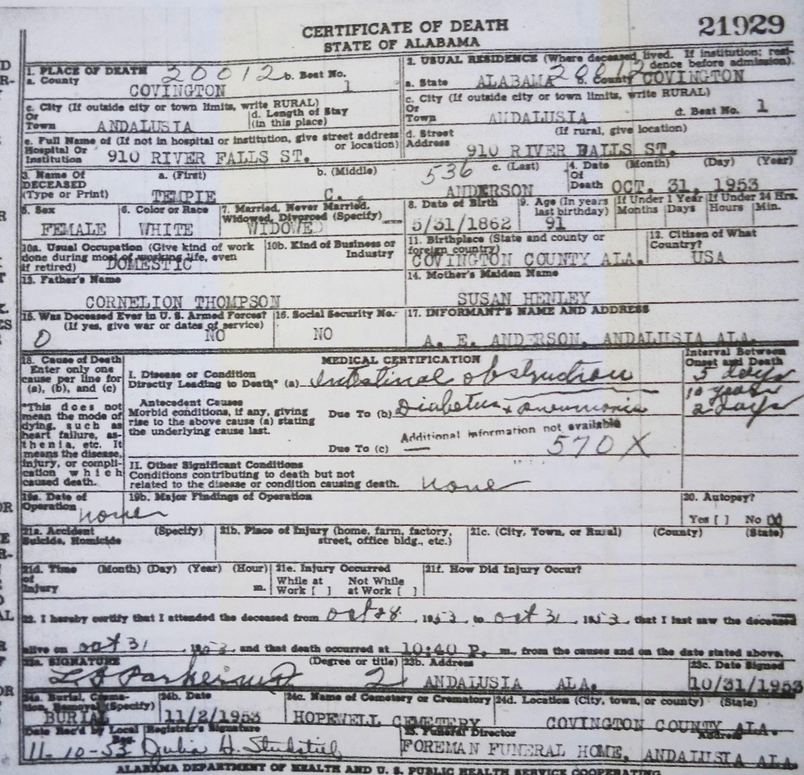 Tracking Your Roots: Alabama Death Certificates, Covington Co, AL