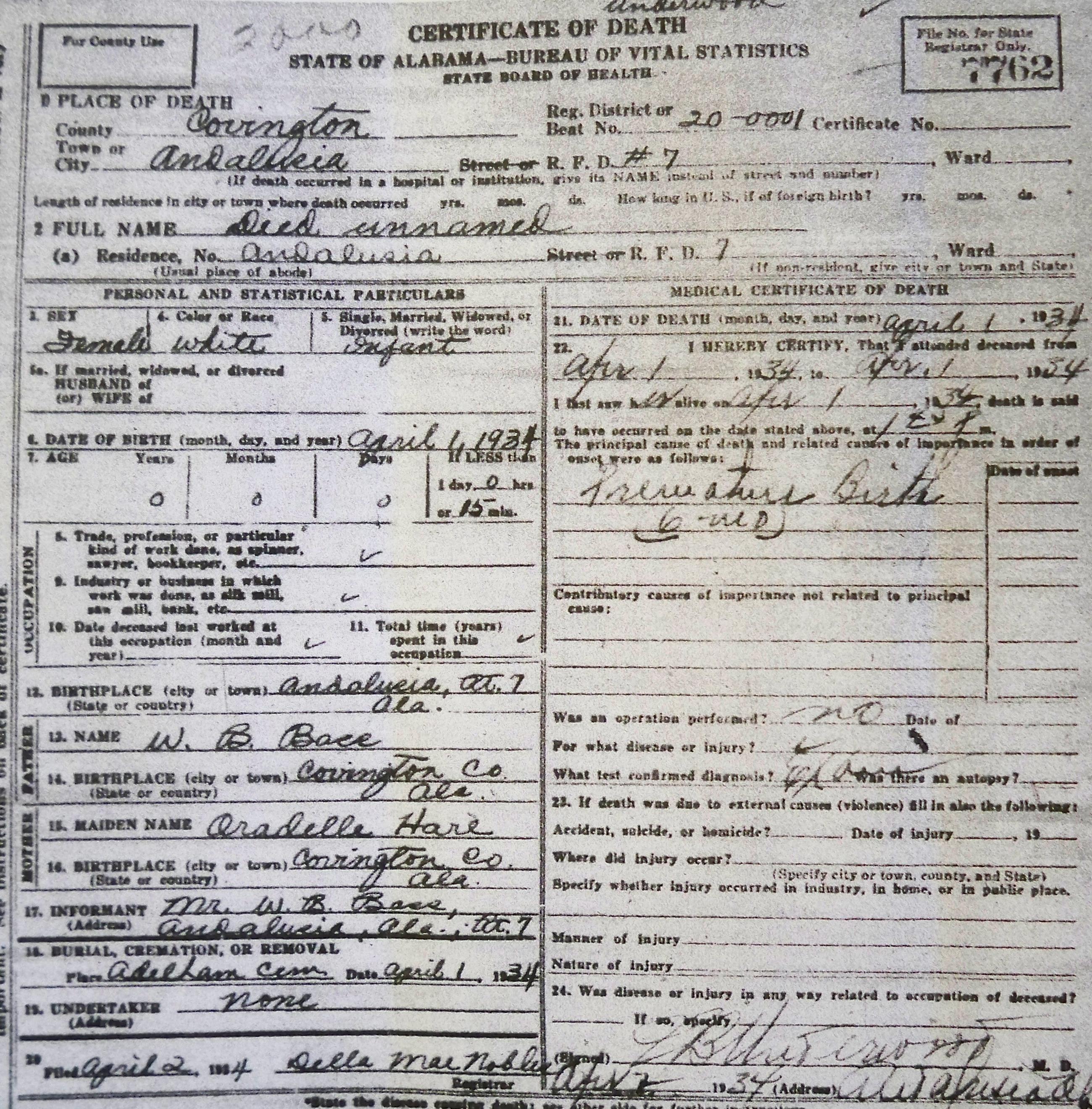 Tracking your roots alabama death certificates covington co al bass infant of wb 1934 xflitez Choice Image