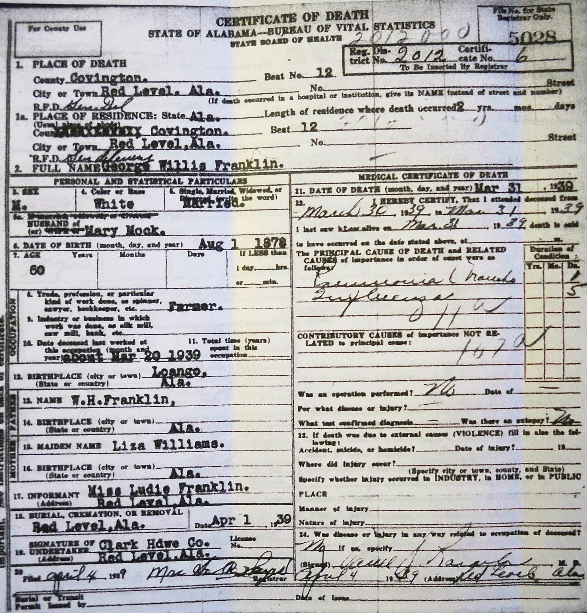 Tracking your roots alabama death certificates covington co al franklin george willis 1939 xflitez Choice Image