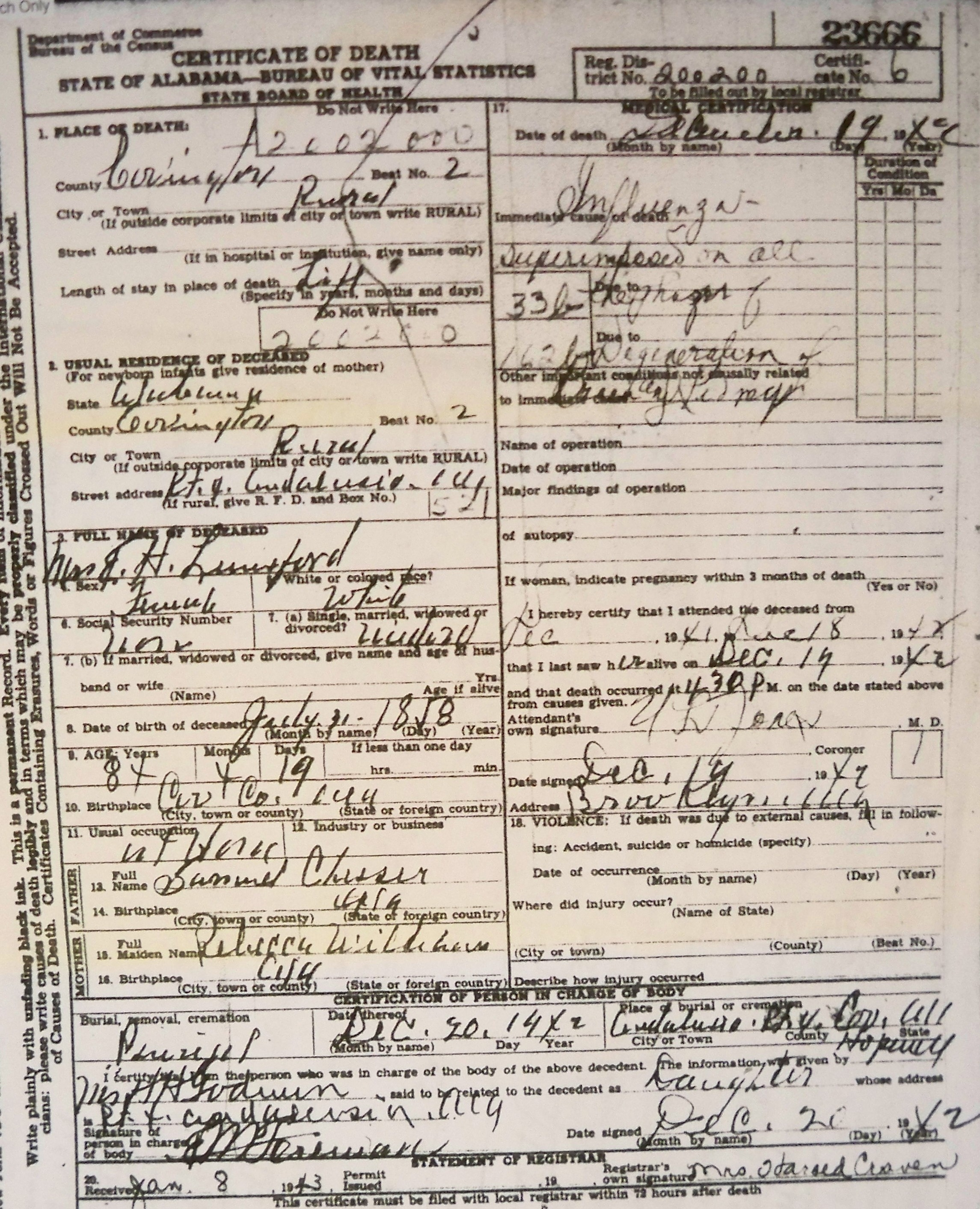 Tracking your roots alabama death certificates covington co al lunsford mrs eh 1942 xflitez Gallery